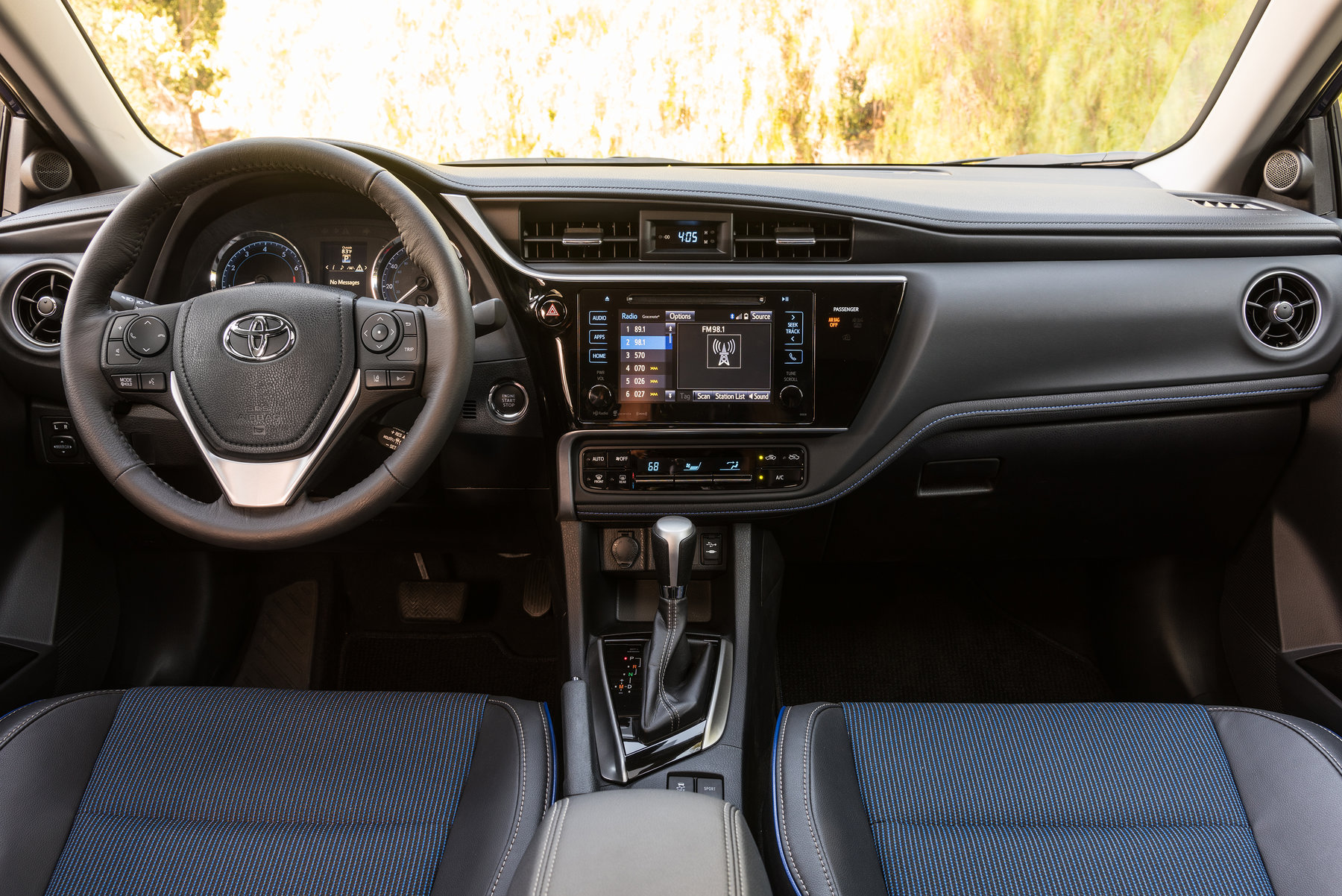 Inside The 2017 Corolla Is Stylish And Welcoming First Thing You Ll Notice A Fluid Dashboard That Creates Continuous Line From Each Side Of