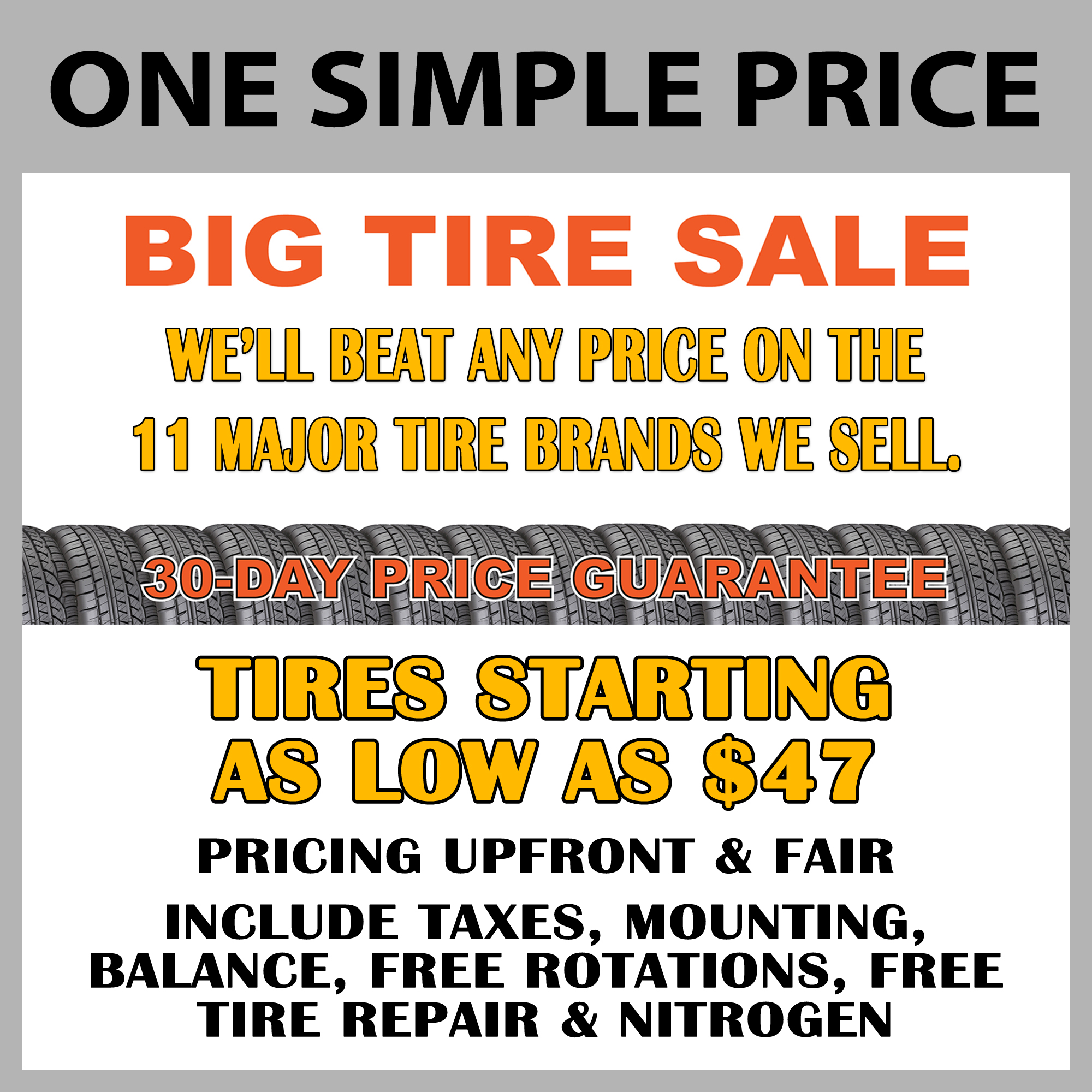 one simple price big tire sale