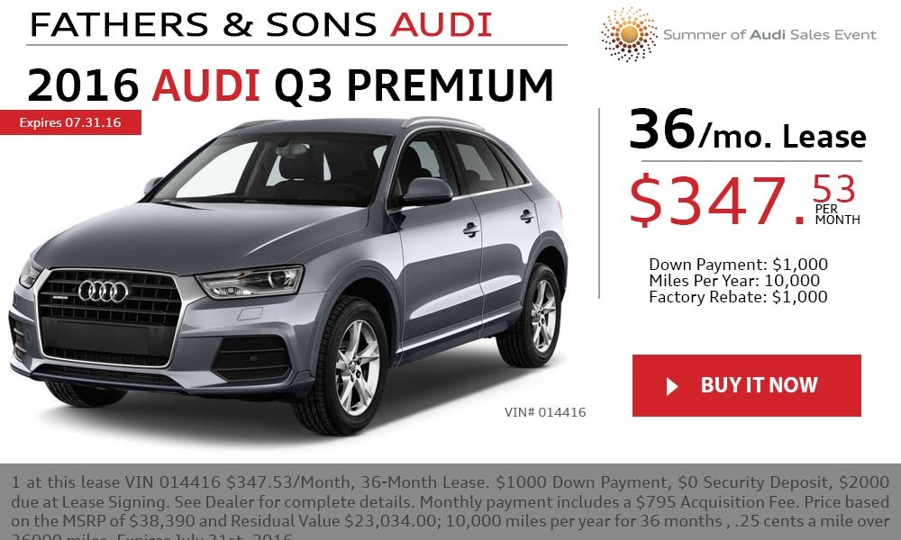 2016 Audi Q3 July offer