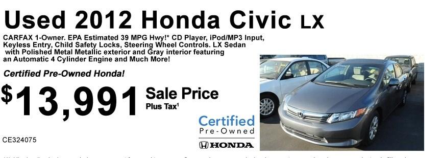2012 Civic LX  CE324075