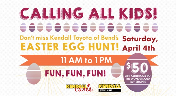 Kendall auto oregon calling all kids dont miss the kendall were in close communication with the easter bunny and will be hosting a kids easter egg hunt from 11 1 pm on saturday april 4th at the dealership negle Images