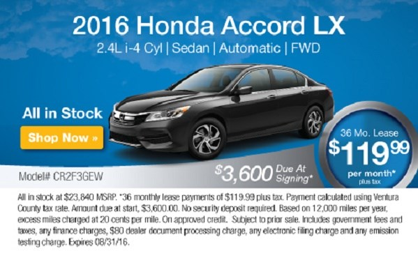 Accord LX Offer