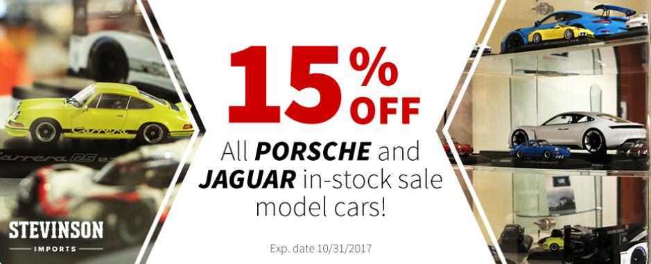 Porsche and Jaguar model cars on sale