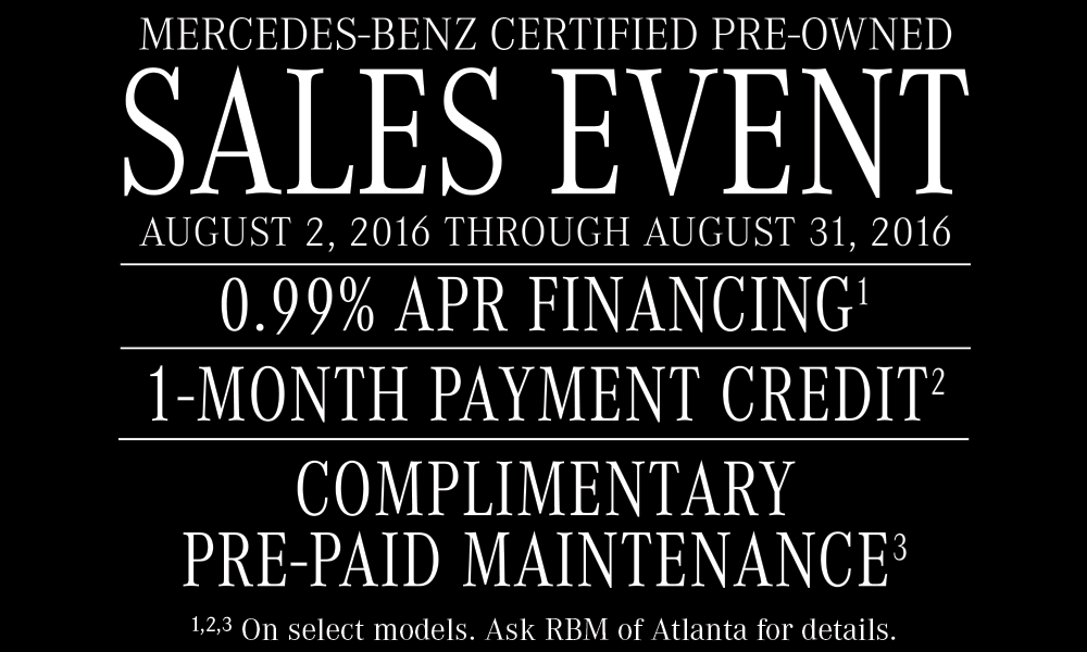 August 2016 newsletter rbm of atlanta for Mercedes benz certified pre owned sales event
