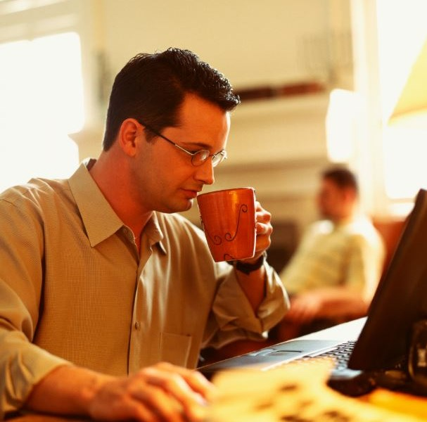 man coffee laptop computer mouse